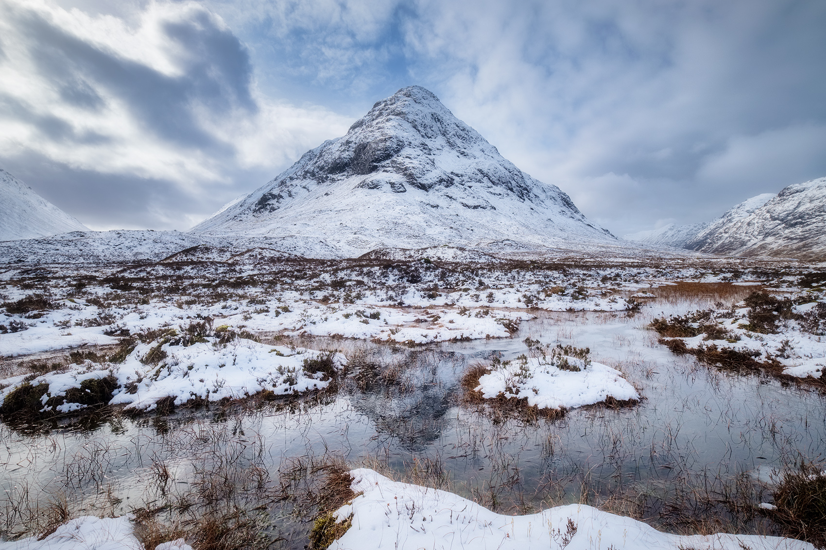"Snow covered mountain on Rannoch Moor. Fuji X-T2 with Fuji 10-24mm lens. ISO200, F/11, 1/420""."