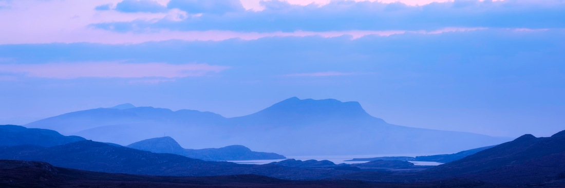 Looking towards Ullapool in the Scotish Highlands after sunset