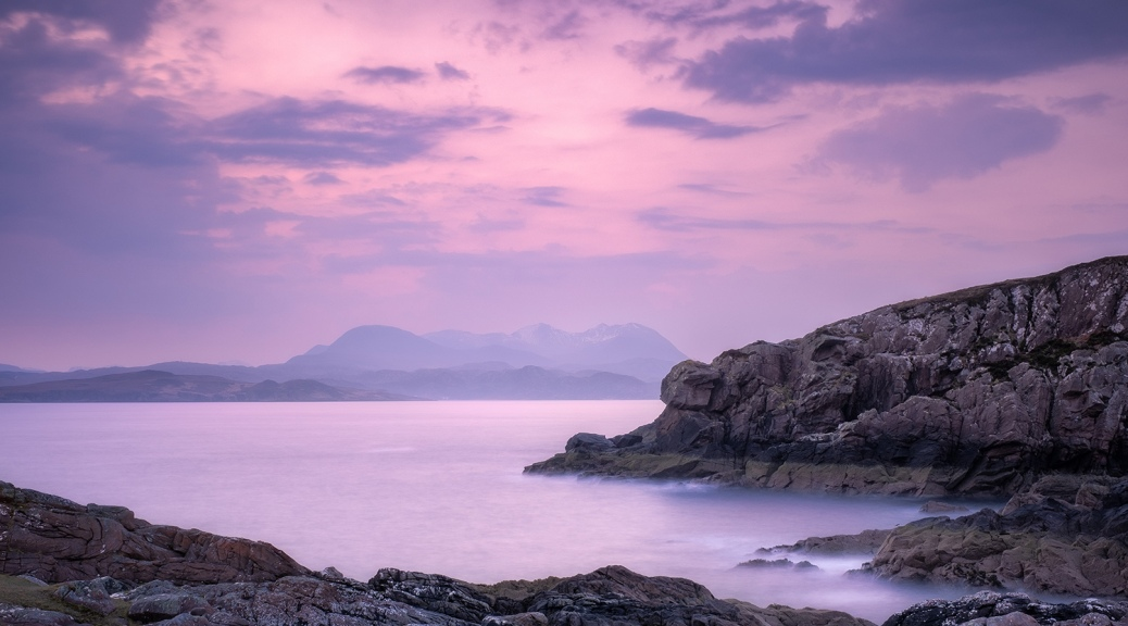 Landscape photography pre-dawn at Mellon Udrigle, Scotland
