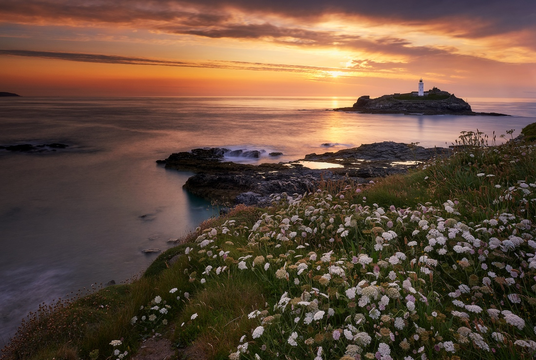 Godrevy Lighthouse at sunset, Cornwall.
