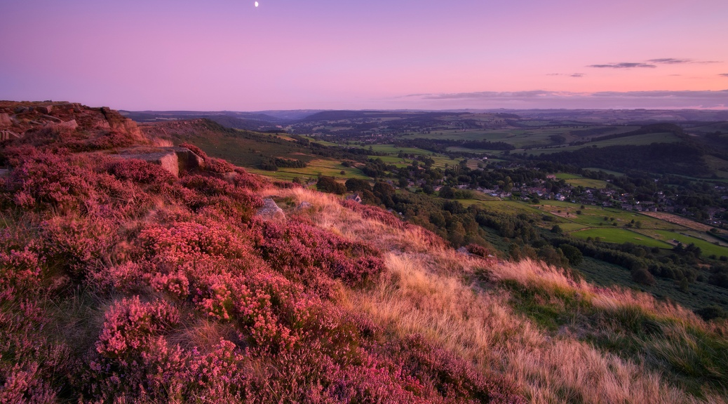Curbar Edge after sunset, Peak District National Park.