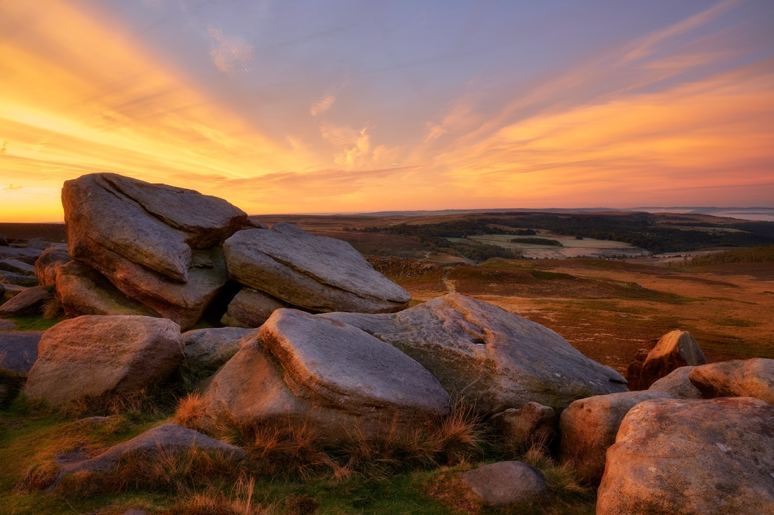 Rocks on Higger Tor at sunrise, The Peak District.