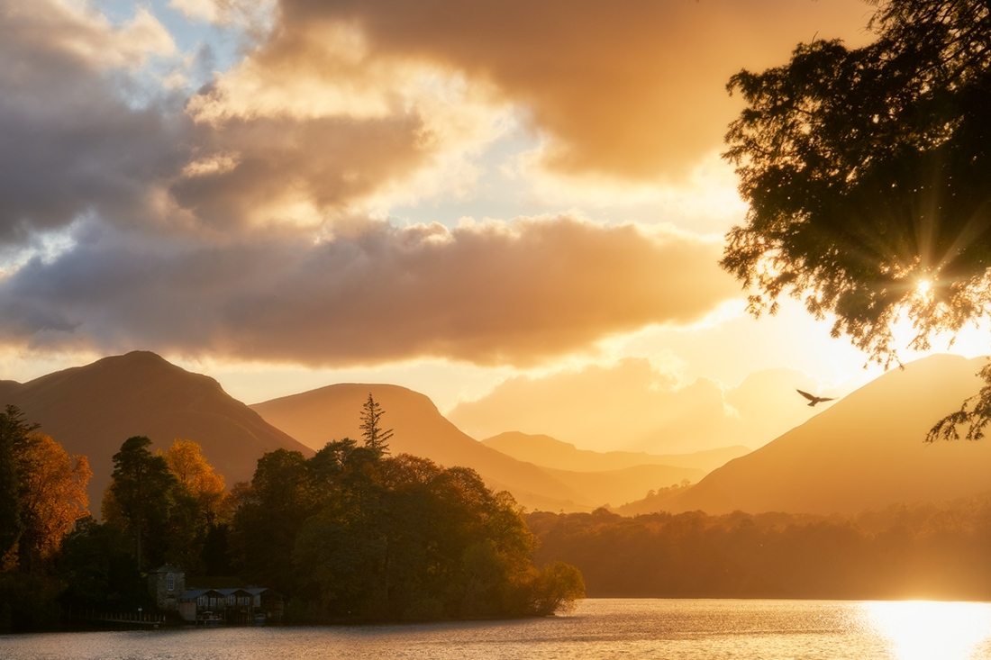 Derwentwater sunset at Keswick, the Lake District