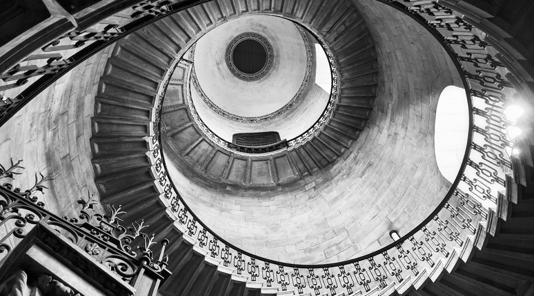 Staircase inside St Paul's Cathedral in black and white