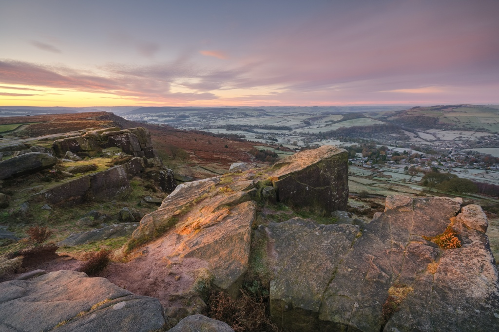 Curbar Edge winter sunrise, Peak District, UK