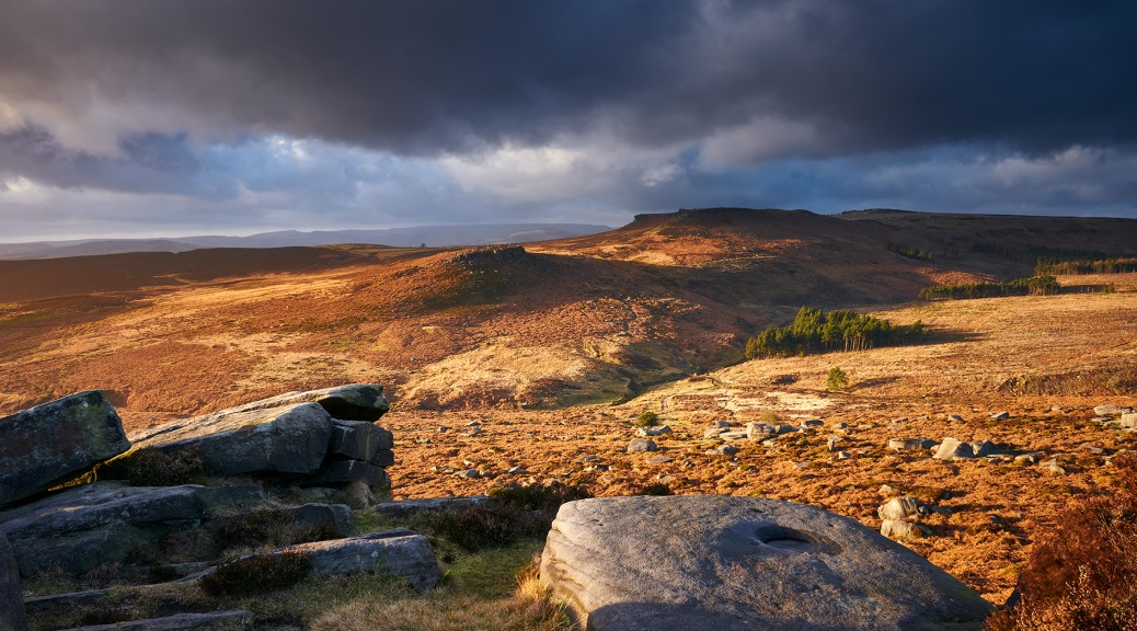Higger Tor and Carl Wark from Burbage Edge in the Peak District.