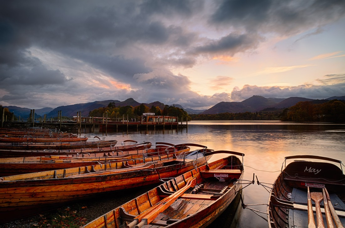 Boats on Derwentwater at sunset