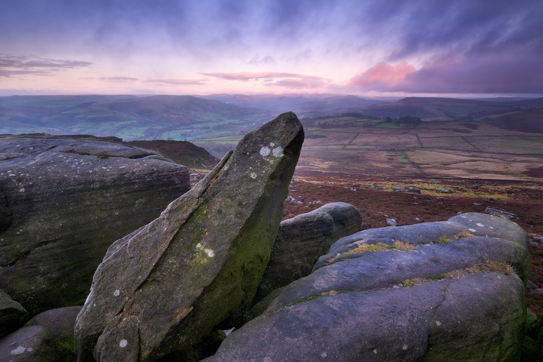 Pre dawn light on the rocks near surprise view in the peak district